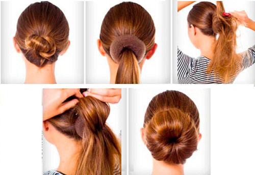 прическа для девочек на длинные волосы - пучок ребенку пошагово