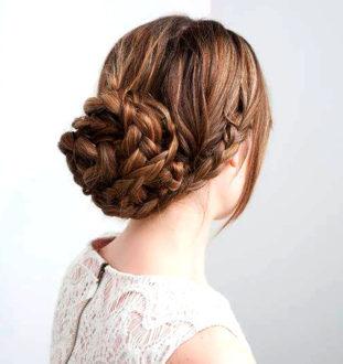 как сделать пучок на длинные волосы из косичек